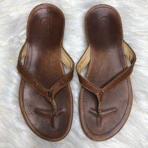 OLUKAI Hi'Ona Leather Flip Flop Sandals Size 7